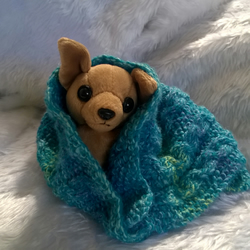 hand knitted small pet blanket