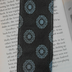Upcycled Recycled Tie Necktie grey blue fabric bookmark