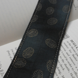Dark Blue Black Gold Print Cotton Fabric bookmark