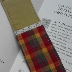 Upcycled Recycled Colourful Check Pattern Cotton Fabric Bookmark