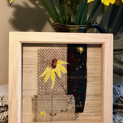 French Sunflower at Dusk, Silk Velvet on Tweed, Textile Art