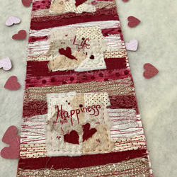 Love, Life, Happiness Scrappy Mini Art Quilt Wall Hanging; Mixed Media Textiles