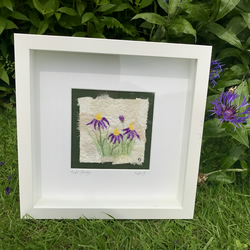 Purple Daisies  Fragment to Flowers  Textile Art