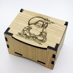 Oak Box with hinged lid for jewellery keepsakes and memory box laughing buddha