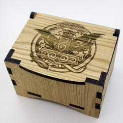 Oak Box with hinged lid for jewellery keepsakes and memory box Odin Design