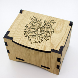 Oak Box with hinged lid for jewellery keepsakes and memory box Green Man Design