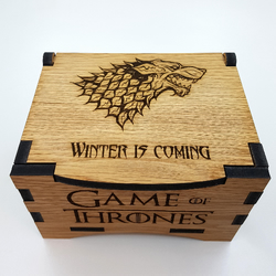 Game Of Thrones House Stark Oak Box with hinged lid for jewellery keepsakes
