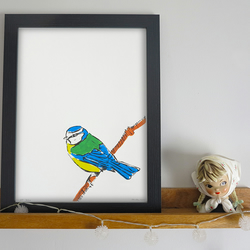 'Chirp' Blue Tit A4 print Limited Edition