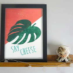'Say Cheese' Cheese plant A4 linocut print Limited Edition