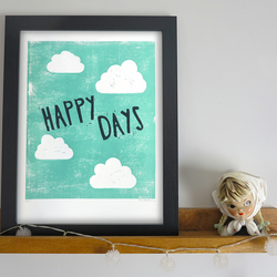 'Happy Days' Cloud A4 linocut print Limited Edition