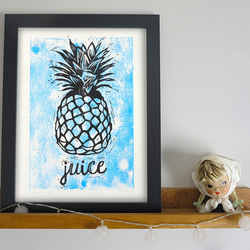 'Juice Blue' Pineapple A4 linocut print Limited Edition