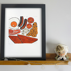 'Brekkie' Fry-up A3 linocut print Limited Edition