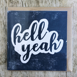 'Hell Yeah' Navy handprinted linocut card, handmade, congratulations, well done!