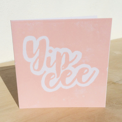 'Yipee' Pink handprinted linocut card, birthday, baby, congrats, well done yipee