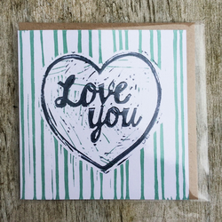 'Love You' Blue stripe handprinted linocut card, Love, Anniversary, Valentine's