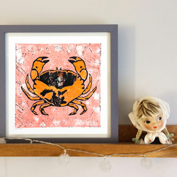 'Snip' Crab linocut print square limited edition