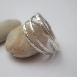 Silver Triple band Ring, Hammered silver ring