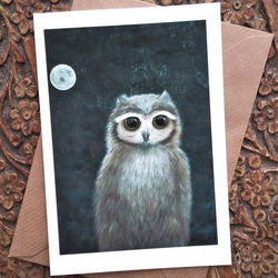 Little Owl and Moon Blank Art Card