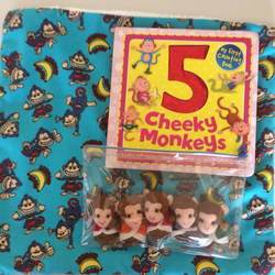 5 Cheeky Monkeys story book, finger puppets and cuddle blankie