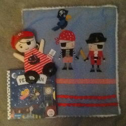 Snuggle blankie and book and pirate teething toy on a pirate theme - ahoy there!