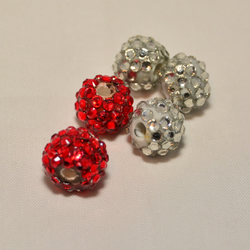 5 Mixed  Red and White Shamballa Beads