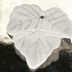 25 Frosted White Acrylic Lucite Leaf Beads