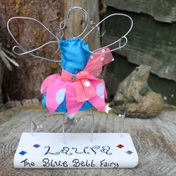 Wire fairy personalised ornament - Blue Bell