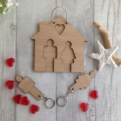 His & hers wooden key ring holder