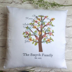 Family tree printed personalised cushion pillow