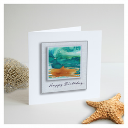Seascape 'Happy Birthday 02' Handmade Greetings Card