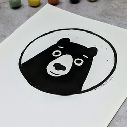 Black Bear linocut print, black and white, scandi inspired original lino print