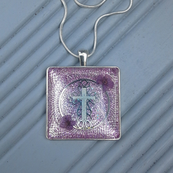 Square Purple Flower and Crucifix Resin Necklace