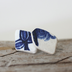 Scottish sea pottery stud earings - handmade - upcycled gift for her