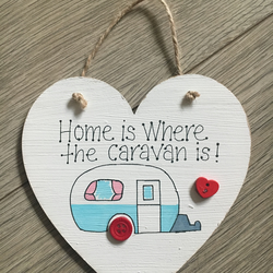 Hanging Wooden Caravan Sign Handmade Shabby Chic Style