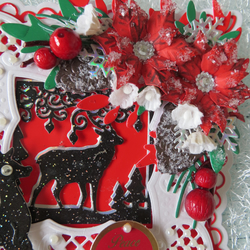 Hand Made stag scene Card For christmas in Red and White