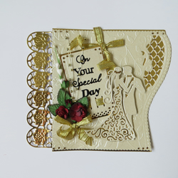 """ON YOUR SPECIAL DAY"" HAND MADE CARD TOPPER IN IVORY, GOLD"