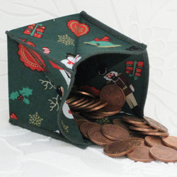 Coin Purse - Origami styled folding purse - Xmas Green