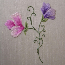Silk-shaded Sweetpeas Embroidery Kit