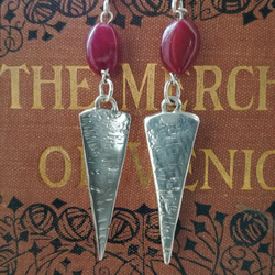 Handmade Silver & Ruby cabachon earrings