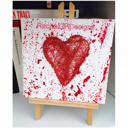 'Valentine' Handwoven Red Wire Heart on Canvas
