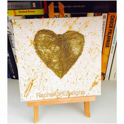 'Aurelia' Handwoven Gold Wire Heart on Canvas