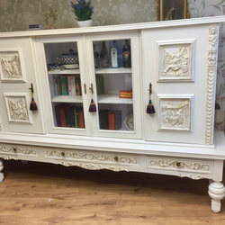 Stunning French Hand Carved Sideboard Bookcase Display Anni Sloan Chalk Painted