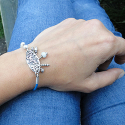 My World Bracelet - Sterling Silver with Pearls - Blue Leather Bracelet