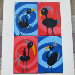 Black Bird Paintings in Red and Blue Acrylic