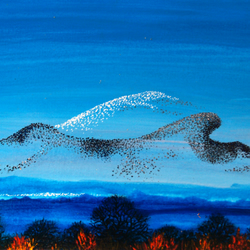 Birds Flying and Painting Pictures in the Sky, original artwork, gift idea, art