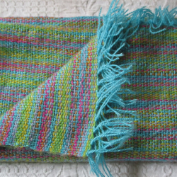 Hand Woven Angora Scarf, aquamarine with dashes of the rainbow.