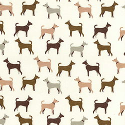Shabby Chic Fabric - Dog Design- By The Metre - Quilting Antique
