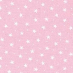 Shabby Chic Fabric - Pink and White Stars - By The Metre - Craft Fabric
