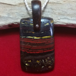 "Stromatolite Necklace with Coconut Hanger on 18"" 925 Sterling Silver Chain"