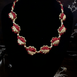 Burgundy and Gold Chinese Knotted Necklace with Gold tone Beads
